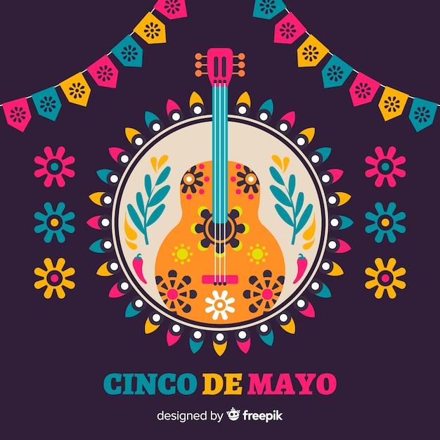 Fond Plat De Cinco De Mayo Vecteur gratuit
