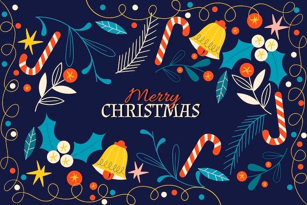 Fond Plat De Cloches De Noël Vecteur Premium
