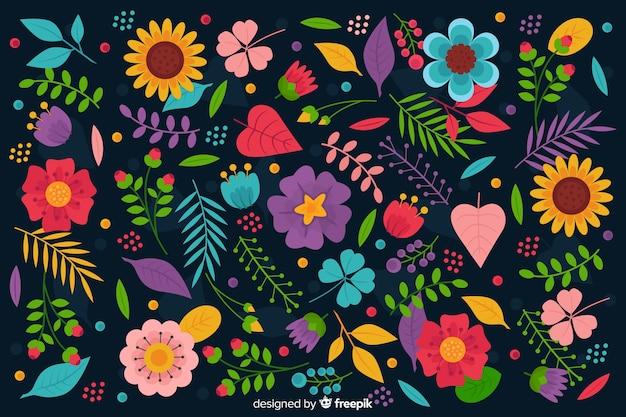 Fond plat coloré de fleurs et feuilles Vecteur gratuit