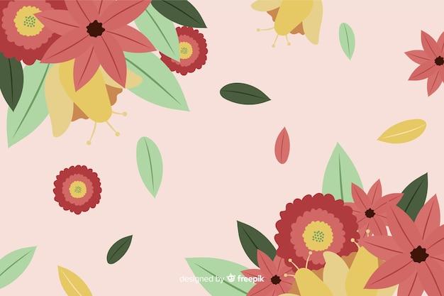 Fond plat coloré avec des fleurs Vecteur gratuit