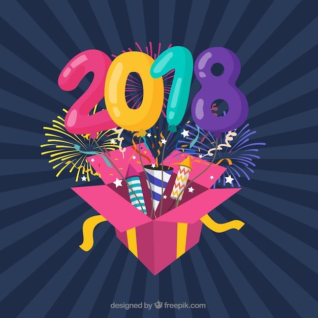 Fond Plat Coloré Nouvel An Avec Une Boîte-cadeau Vecteur gratuit