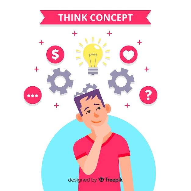 Fond plat concept pensée Vecteur gratuit