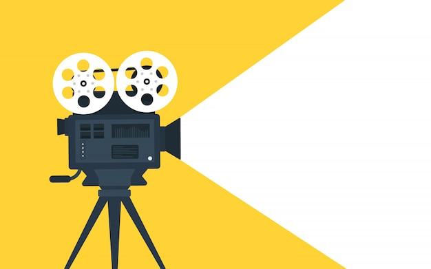 Fond Plat De Concept De Temps De Film. Conception De Bannière De Cinéma Vecteur Premium