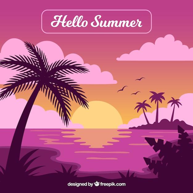 Fond plat coucher de soleil avec des palmiers Vecteur gratuit