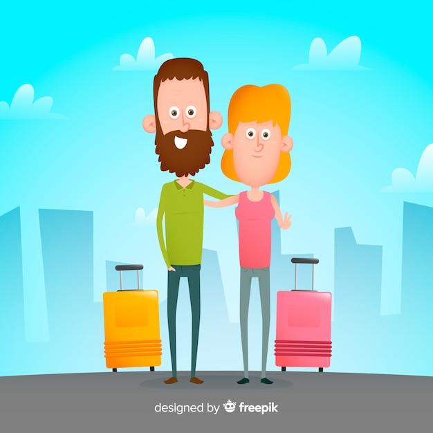Fond plat couple voyageant Vecteur gratuit