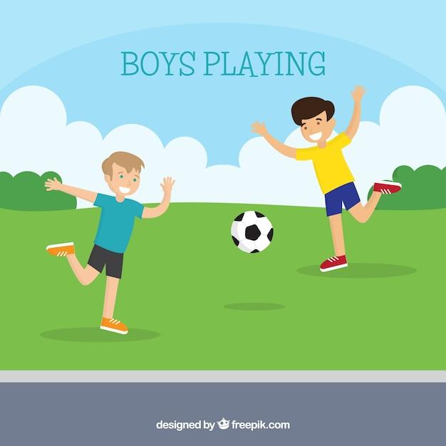 Fond plat de gar on heureux jouer au football - Jouer au coups de midi gratuitement ...