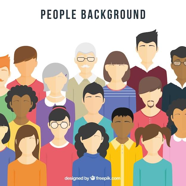 Fond Plat Avec Diversité De Personnes Vecteur Premium