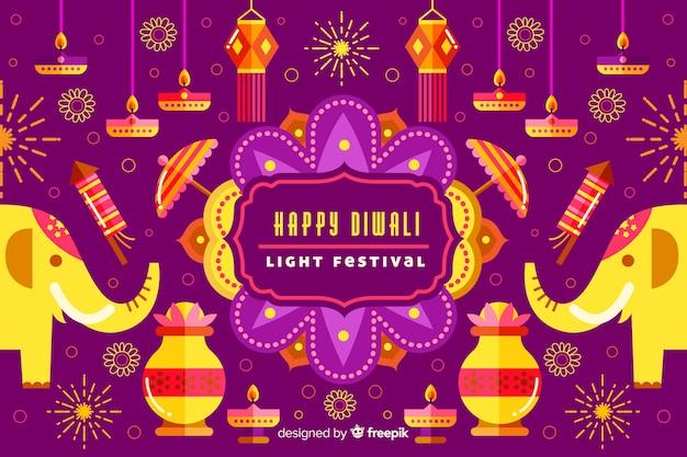 Fond Plat De Diwali Avec Des éléphants Vecteur gratuit