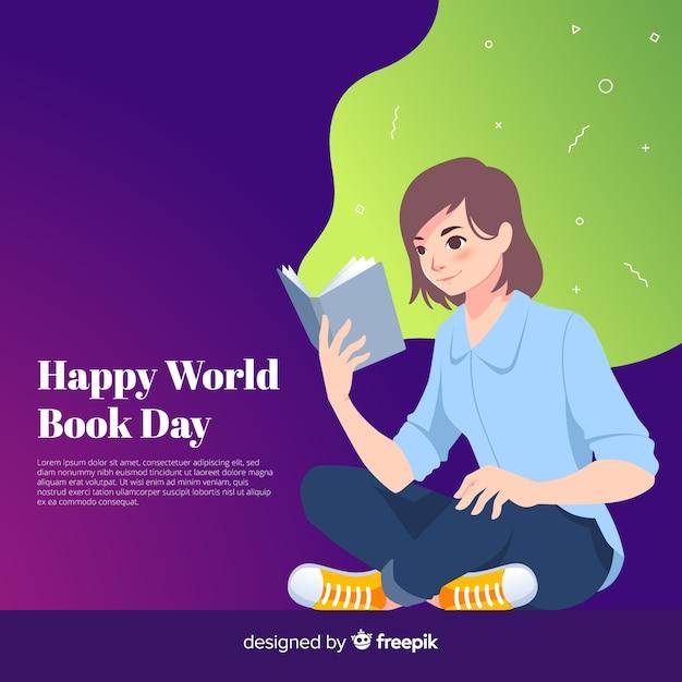 Fond plat du monde du livre Vecteur gratuit