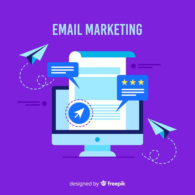 Fond plat d'e-mail marketing Vecteur gratuit