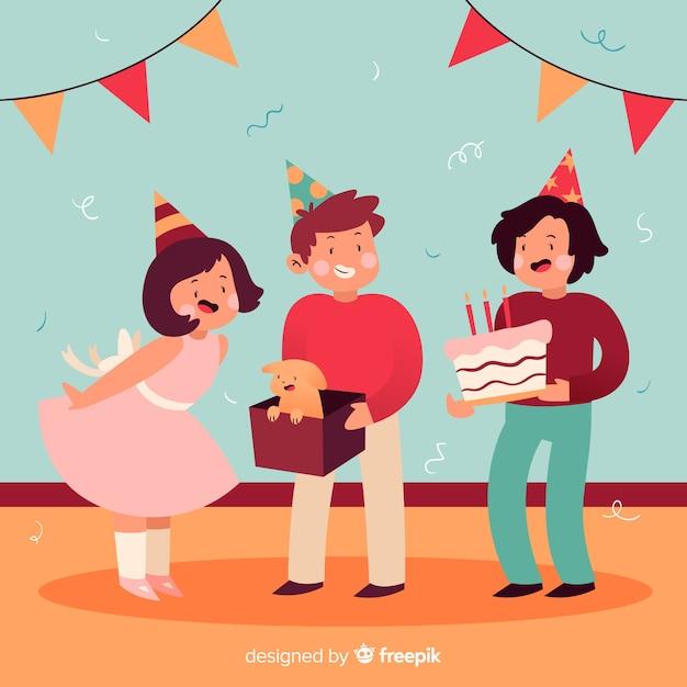 Fond plat enfants anniversaire Vecteur gratuit