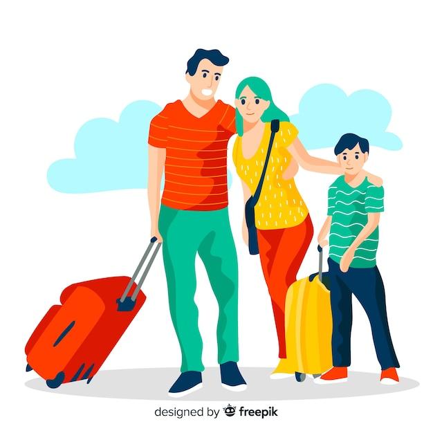 Fond plat famille voyageant Vecteur gratuit