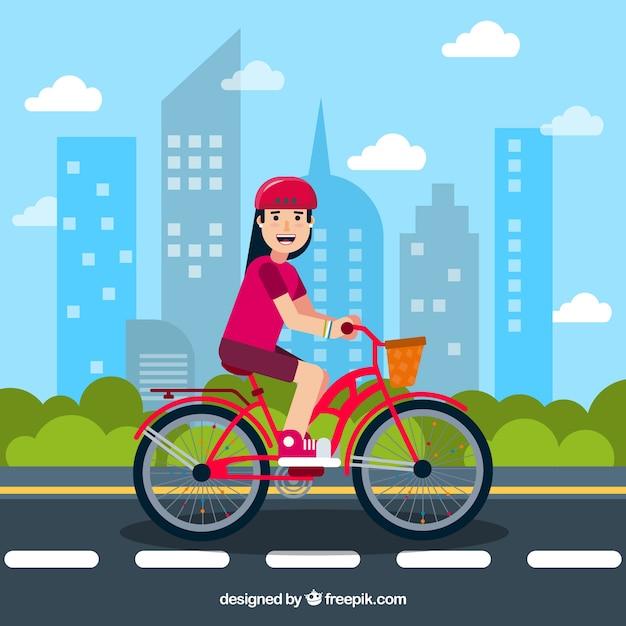 Fond plat avec femme souriante et vélo Vecteur gratuit