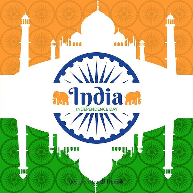 Fond plat de la fête de l'indépendance de l'inde Vecteur gratuit