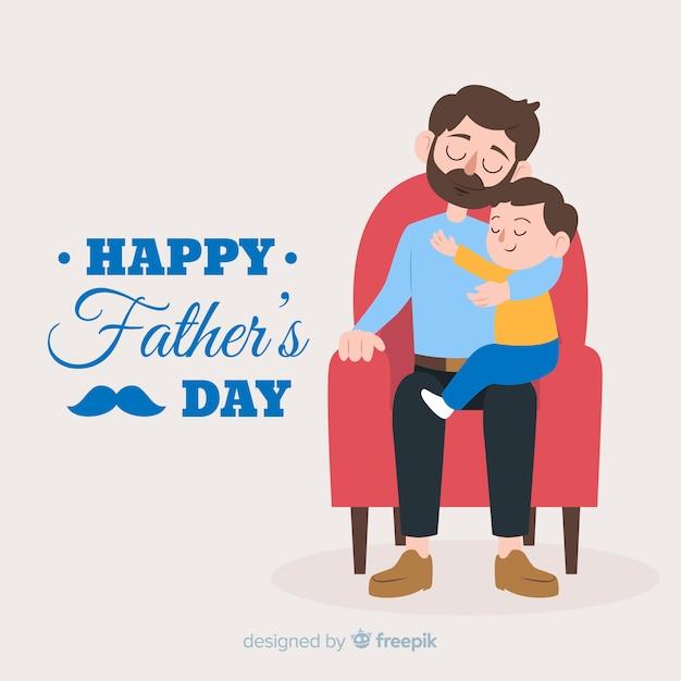 Fond Plat De Fête Des Pères Vecteur gratuit
