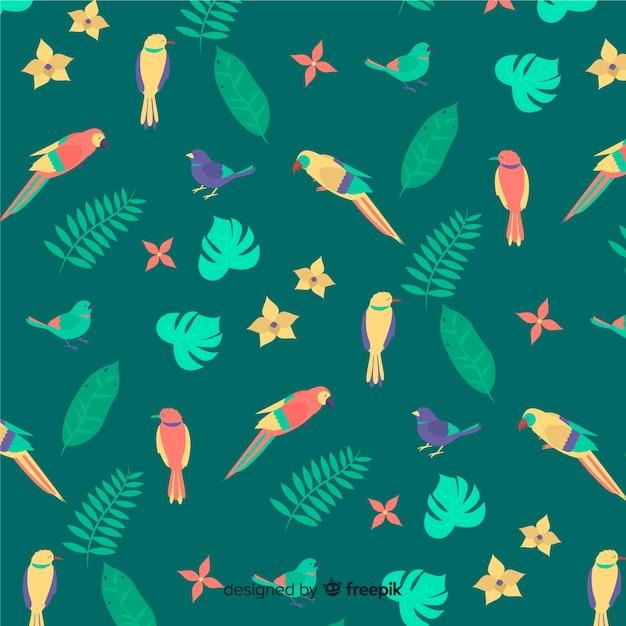 Fond plat de feuilles et de fleurs tropicales Vecteur gratuit