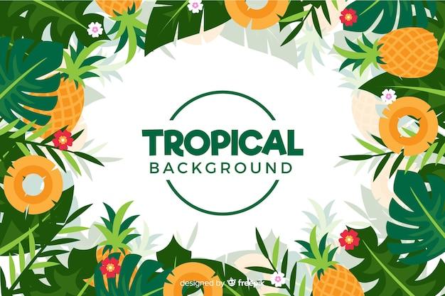 Fond plat de fleurs tropicales Vecteur gratuit