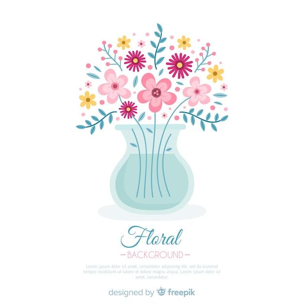 Fond plat floral Vecteur gratuit