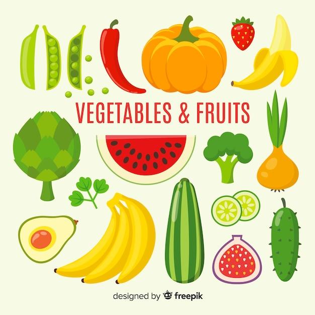 Fond plat de fruits et légumes Vecteur gratuit