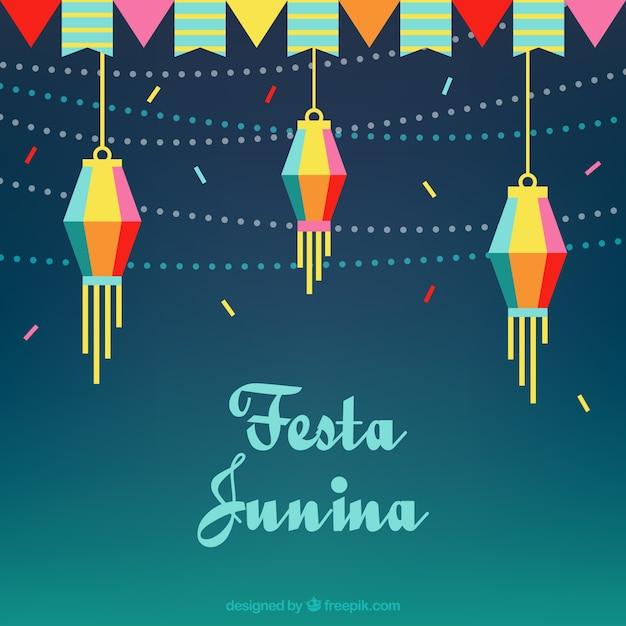 Fond Plat Avec Guirlandes Et Lanternes Pour Festa Junina Vecteur gratuit