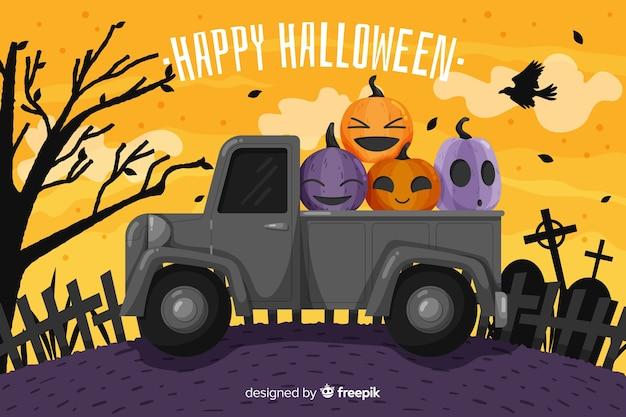 Fond plat d'halloween avec camion Vecteur gratuit