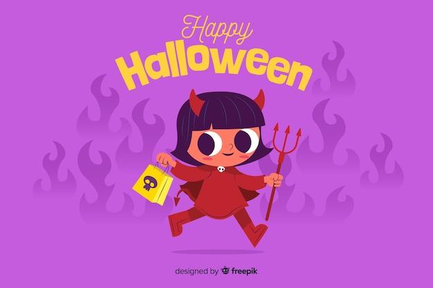 Fond plat d'halloween avec diable mignon Vecteur gratuit
