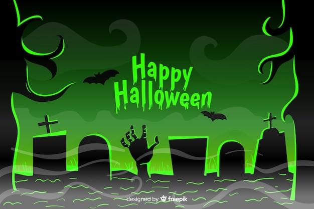 Fond plat d'halloween avec une main de zombie vert Vecteur gratuit