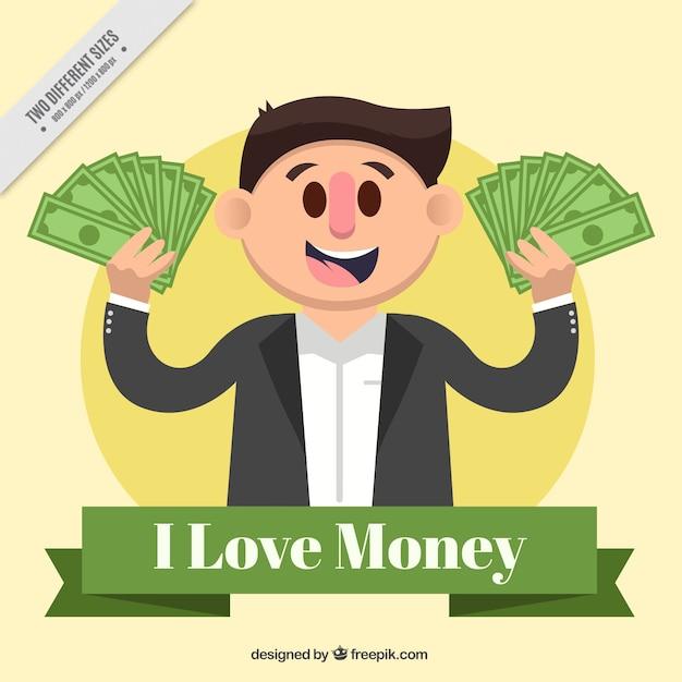 Fond plat d'un homme souriant avec de l'argent Vecteur gratuit