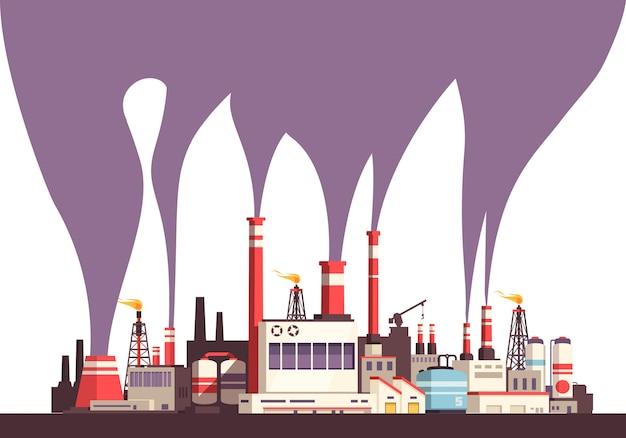 Fond Plat Industriel Avec Ensemble D'usines Et émissions Nocives Toxiques De La Pluralité De Tubes Illustration Vecteur gratuit