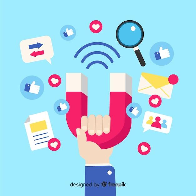Fond plat d'influence sociale Vecteur gratuit