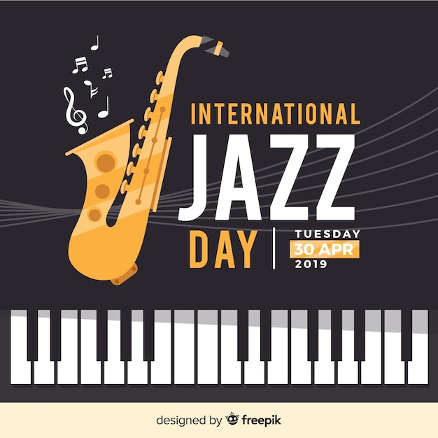 Fond plat international de jazz Vecteur gratuit