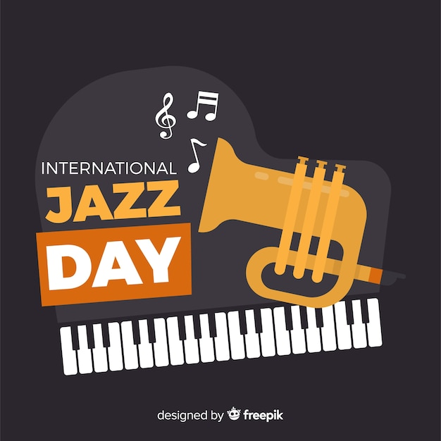 Fond plat international de jazz Vecteur gratuit