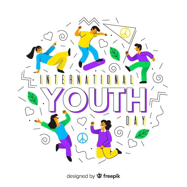 Fond plat de la jeunesse Vecteur gratuit
