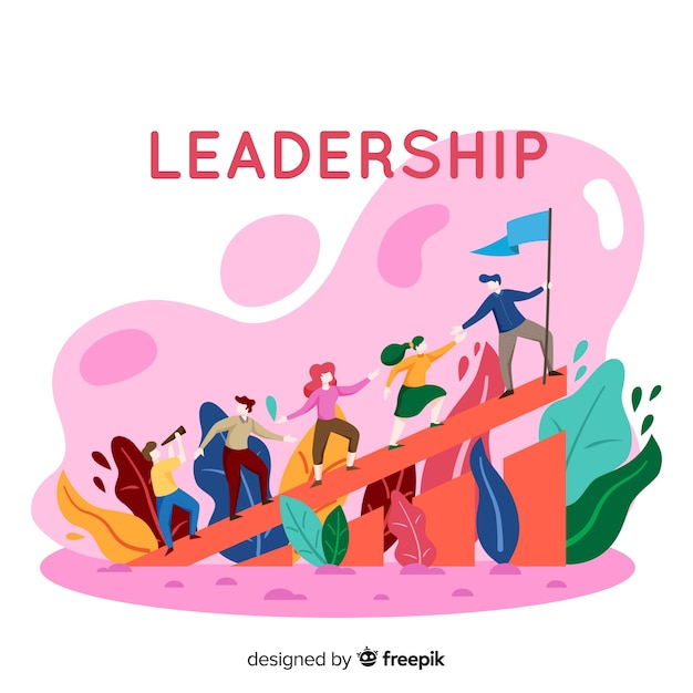 Fond Plat De Leadership Vecteur Premium