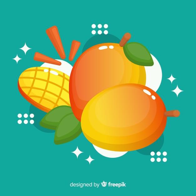 Fond plat de mangue Vecteur gratuit