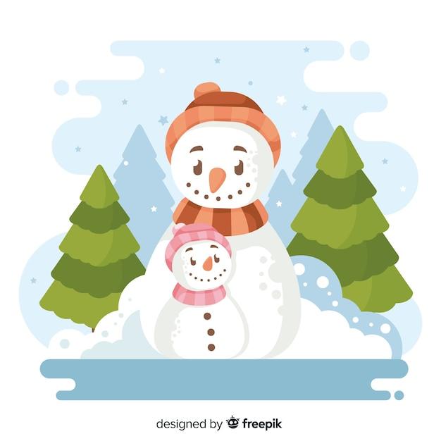 Fond plat de noël avec bonhomme de neige Vecteur gratuit