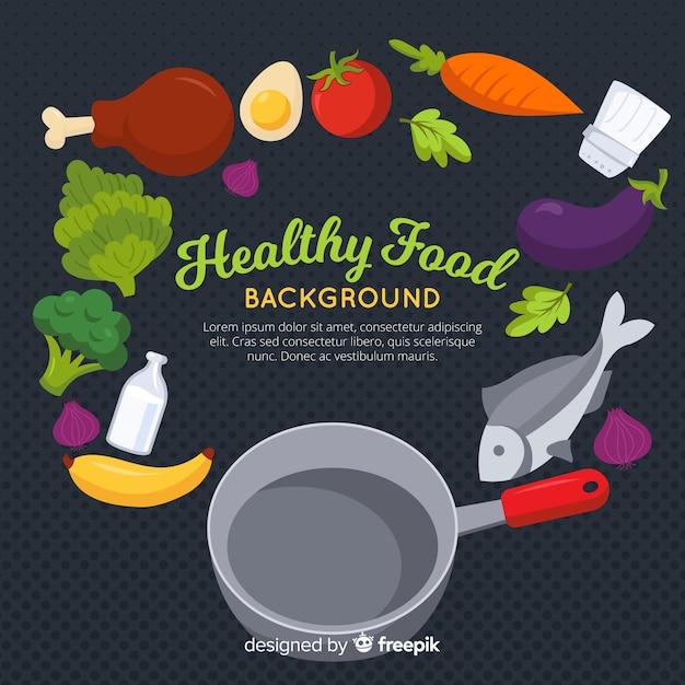 Fond plat de nourriture saine Vecteur gratuit