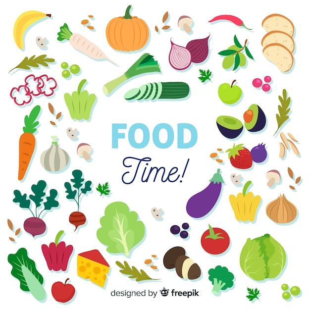 Fond Plat De Nourriture Vecteur gratuit