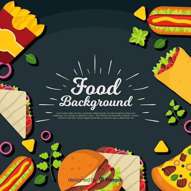 Fond Plat De Nourriture Vecteur Premium