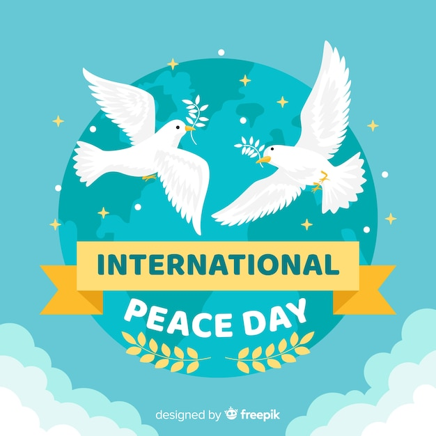 Fond plat de la paix avec la colombe Vecteur gratuit