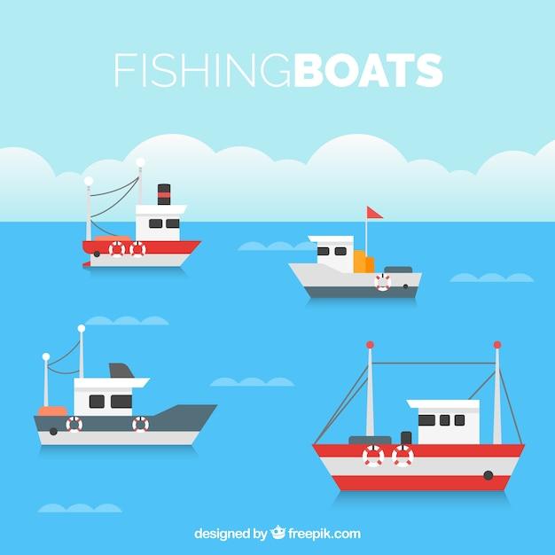 Fond plat avec quatre bateaux de pêche Vecteur gratuit