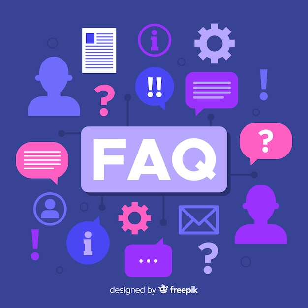 Fond plat questions fréquemment posées Vecteur gratuit