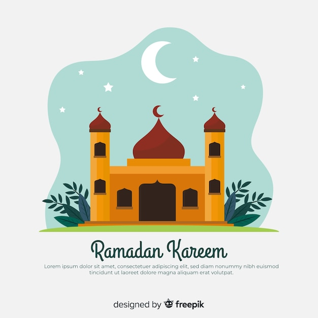 Fond Plat De Ramadan Vecteur gratuit