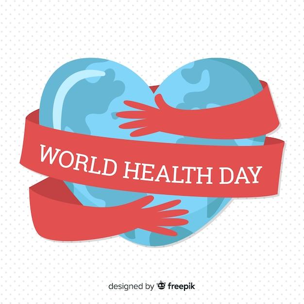 Fond Plat De La Santé Mondiale Vecteur Premium
