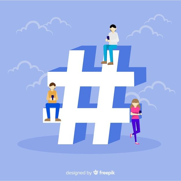 Fond Plat Symbole De Hashtag De Médias Sociaux Vecteur gratuit