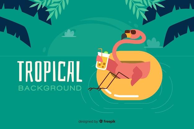 Fond plat tropical avec flamant rose Vecteur gratuit