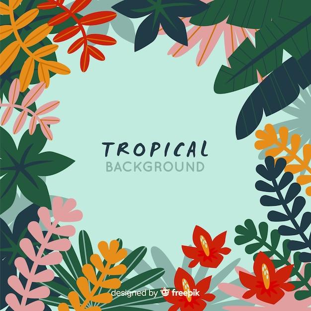 Fond plat tropical Vecteur gratuit