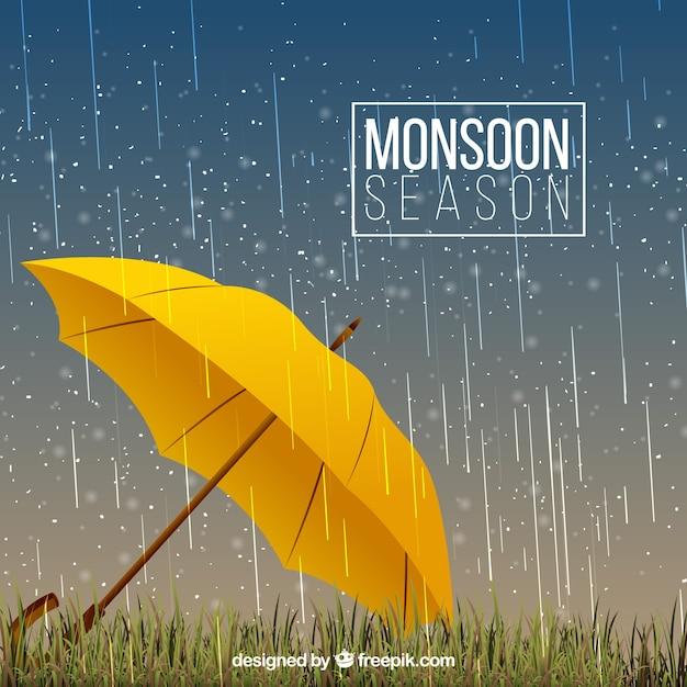 Fond de pluie et parapluie jaune Vecteur gratuit