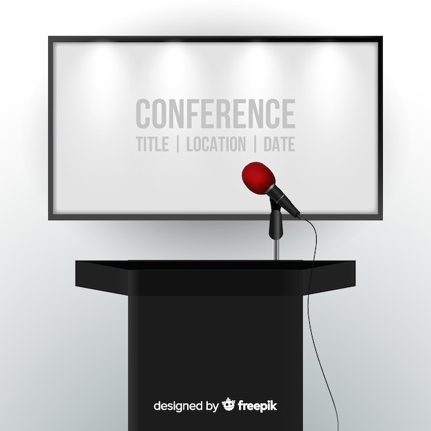 Fond de podium de conférence réaliste Vecteur gratuit