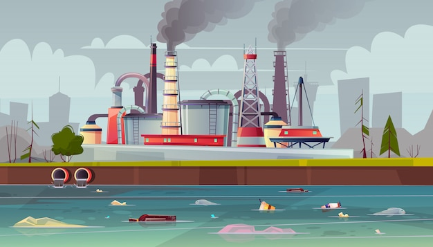 Fond avec pollution de l'environnement Vecteur gratuit